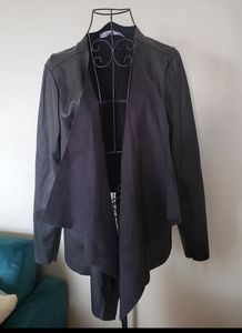 JustFab faux leather black open cardigan sz 1X